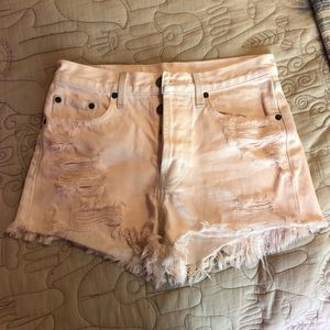 LF Frayed Baby Pink High-Waisted Shorts